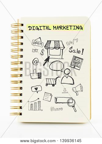 Notebook On Desk With Icon Relate With Digital Marketing, Business Concept