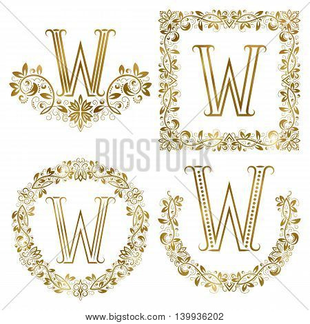 Golden W letter ornamental monograms set. Heraldic symbols in wreaths square and round frames.