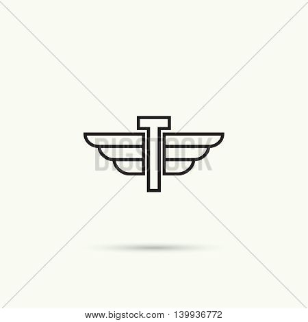 Elegant dynamic alphabet letters with wings. Monogram wing logo mockup. Creative design element. Corporate branding identity. Vector template. Letter t