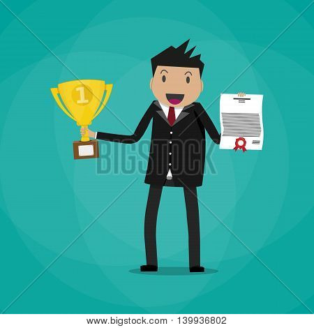 Happy cartoon businessman winner holding certificate and gold trophy cup. vector illustration in flat design on green background