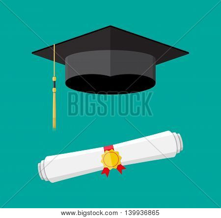 White rolled paper diploma scroll with yellow stamp, red ribbons and black graduation cap. Graduation concept. vector illustration in flat style on green background