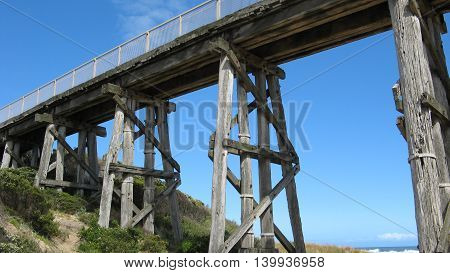 Old railway trestle bridge at Kilcunda Victoria Australia