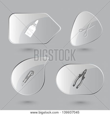 4 images: glue bottle, scissors, knife, pliers. Angularly set. Glass buttons on gray background. Vector icons.