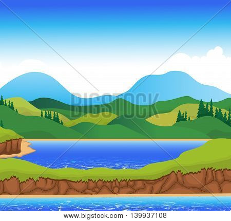 beautiful view of river cartoon with mountain landscape background