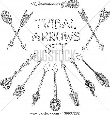 Vector Set Of Doodles Tribal Arrows Isolated On White Background.