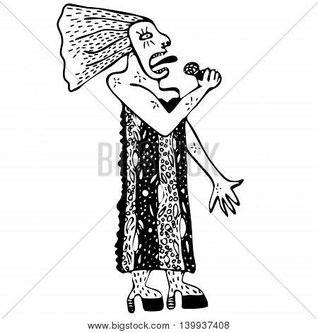 Hand drawn illustration singer woman on background. Black and white.