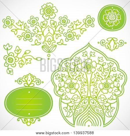 Vector set of frames and vignettes in east style. Element for design. It can be used for decorating of invitations cards decoration for bags and at tattoo creation.