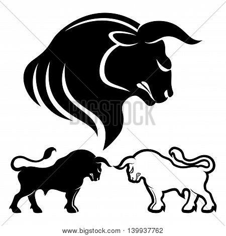 Vector set of bulls on white background.