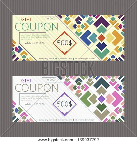 Gift voucher with bright design. Gift card template. Coupon discount set. Voucher vector design. Coupon template with random colored tiles.