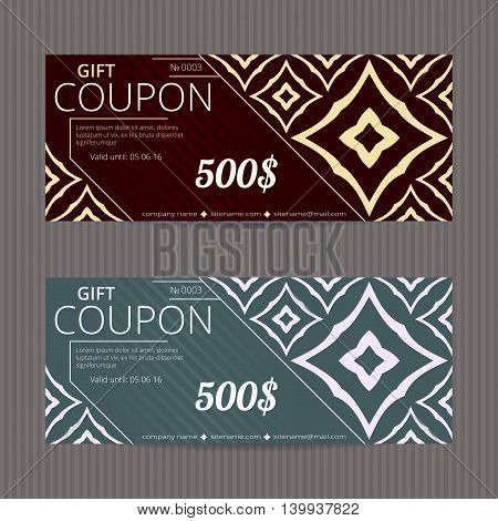 Gift voucher with elegant design. Gift card template. Coupon discount set. Voucher vector design. Coupon template with oriental design. Luxury tickets. Ornamental design vouchers.