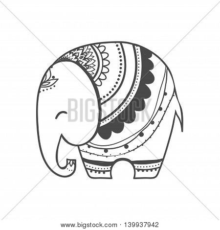 Greeting Beautiful card with Elephant. Frame of animal made in vector. Elephant Illustration for design, pattern, textiles. Hand drawn map with Elephant.