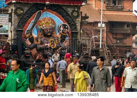 Kathmandu, Nepal - May 22, 2016: Bhairab statue, god of destroy at Durbar Square in Kathmandu, Nepal