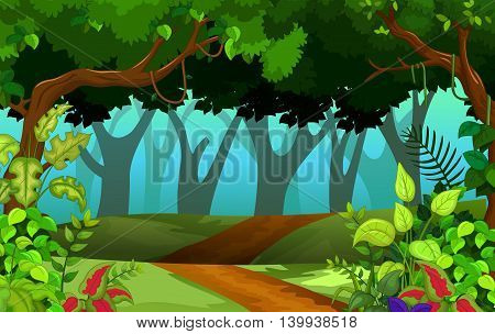 beautiful plant with tropical forest for you design