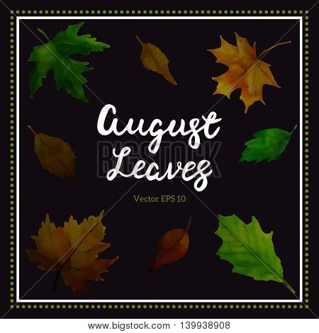 Set Of Leaves Background. Vector