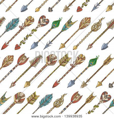 Vector Seamless Pattern Of Tribal Arrows.
