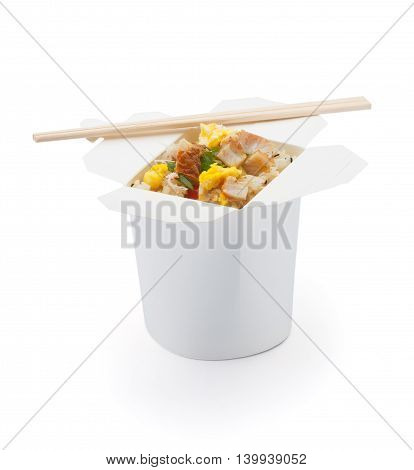 Seafood  Teriyaki Rice Isolated On White Background