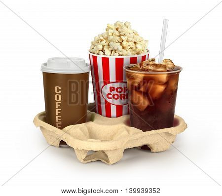 Popcorn in box with colaand coffee in takeaway cup isolated on white background