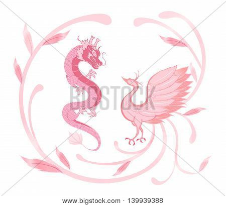 Dragon and phoenix for symbolism in traditional Chinese wedding and marriages in pink and sweet theme isolated version.