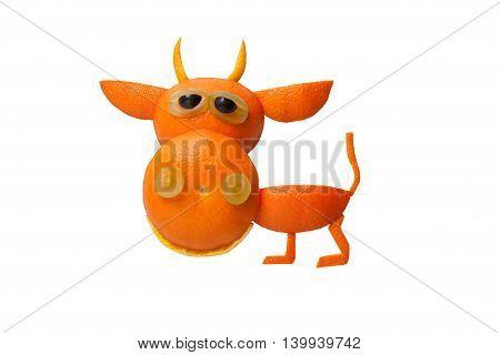 Funny bull made of orange on isolated background