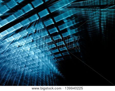 Abstract background element. Fractal graphics series. Three-dimensional composition of repeating transparent shapes. Information technology concept. Blue and black colors.