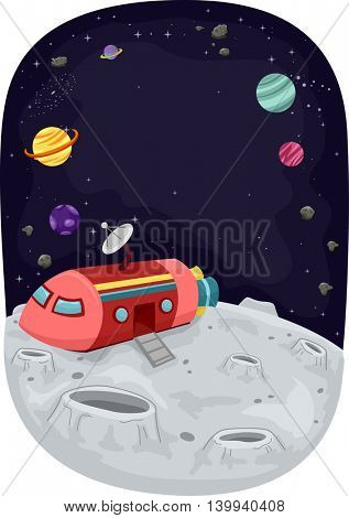 Illustration of a Space Ship Docked on the Surface of the Moon