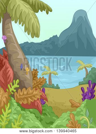 Colorful Illustration of a Forest by the Seaside