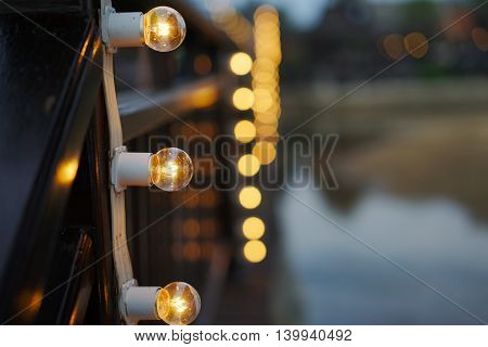 modern decoration garland of electric bulbs Edison.