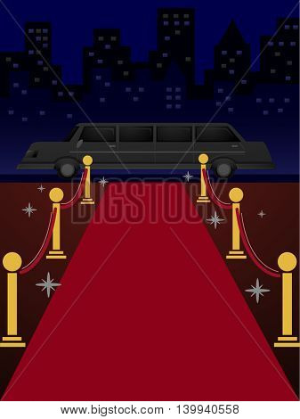 Illustration of a Length of Red Carpet Leading to a Limousine