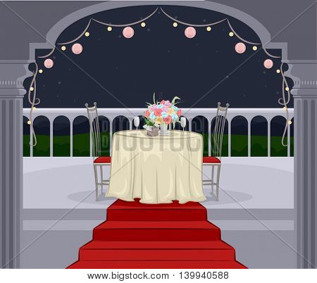 Illustration of a Balcony Prepared for a Romantic Dinner Date