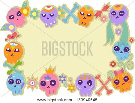 Illustration Featuring a Frame Lined with Sugar Skulls