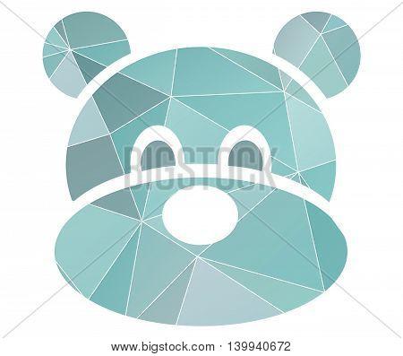 polygonal blue bear head symbol, isolated vector logo on white background