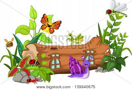 collection of insects with wood house cartoon