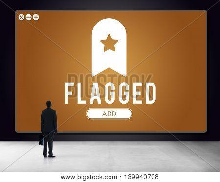 Flagged Bookmark Content Web Online Management Concept
