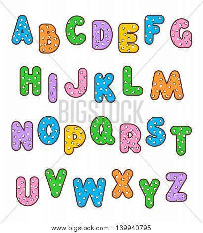 English alphabet set of polka-dot patterned and outlined bold letters of various colors. No fonts used, letter shapes are of my own.