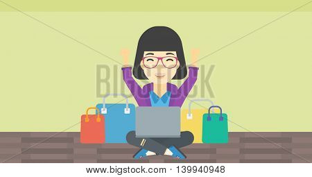 An asian young woman with hands up using laptop for shopping online. Customer sitting with shopping bags around her and doing online shopping. Vector flat design illustration. Horizontal layout.