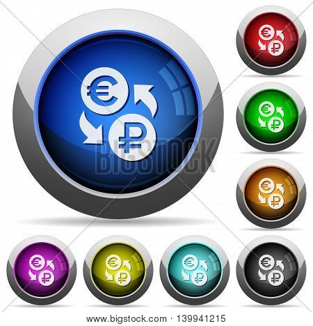 Set of round glossy Euro Ruble exchange buttons. Arranged layer structure.