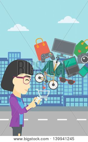 An asian young woman holding a smartphone with shopping cart and application icons flying out on a city background, Vector flat design illustration. Vertical layout.