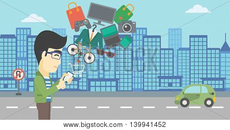 An asian young man holding a smartphone with shopping cart and application icons flying out on a city background. Vector flat design illustration. Horizontal layout.