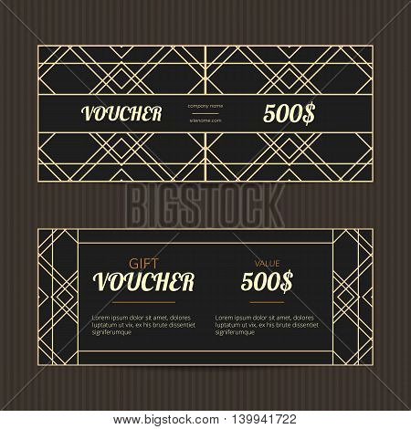 Set of two gift vouchers in Art Deco style. Gift card template. Coupon discount collection. Voucher vector design. Coupon template with minimalistic design. Golden and black vouchers.