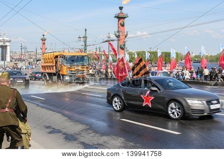 St. Petersburg, Russia - 9 May, Cleaning of roads in the city, 9 May, 2016. Celebration day of victory in the center of St. Petersburg.