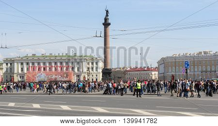 St. Petersburg, Russia - 9 May, Victory Day on Palace Square, 9 May, 2016. Celebration day of victory in the center of St. Petersburg.