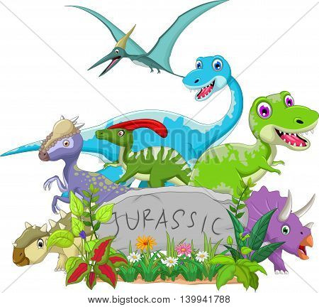 funny jurassic animal cartoon for you design