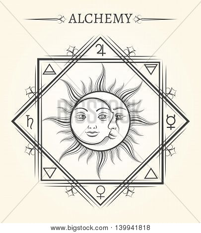Sun and moon astrology mystical celestial bodies vector symbol