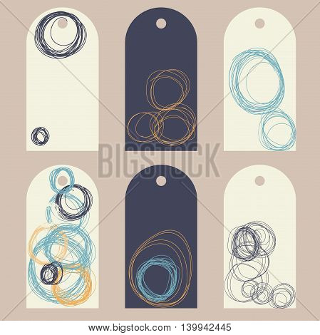 Collection of gift tags with hand drawn circles. Vector clip art illustration.