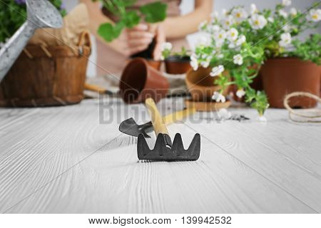 Gardening tools and flowers on wooden table closeup