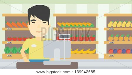 An asian young cashier standing at the checkout in supermarket. Male cashier working at checkout in supermarket. Vector flat design illustration. Horizontal layout.