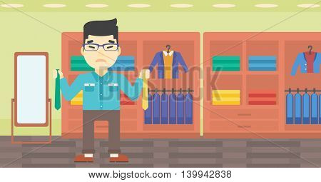 An asian upset man holding two neckties and trying to choose the best one. Customer choosing necktie at clothing store. Vector flat design illustration. Horizontal layout.