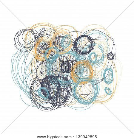 Hand drawn circles. Ethnic style. Natural tones. Design element isolated on white bacground.