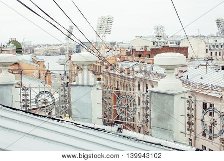 roof top city scape St.Petersburg Russia close up
