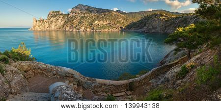 Panorama of Blue bay and mount Karaul-Oba. Mountains in Crimea at the Black sea.